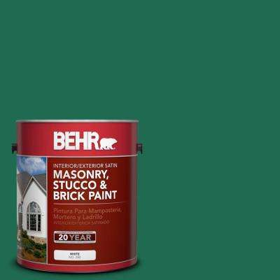 1 gal. #P430-7 Sparkling Emerald Satin Interior/Exterior Masonry, Stucco and Brick Paint