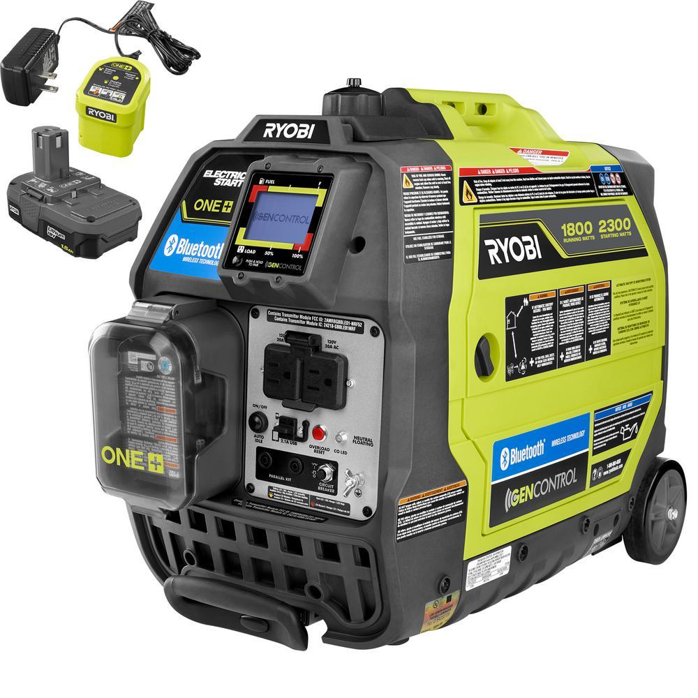 RYOBI Bluetooth 2,300 Starting Watt ONE+ 18 Volt. Electric Start Gasoline Powered Digital Inverter Generator