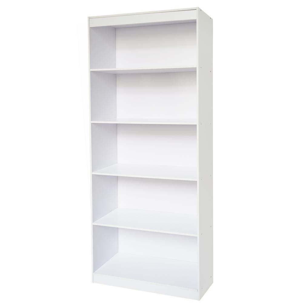 Techni Home White Sturdy Standard 5 Shelf Bookcase