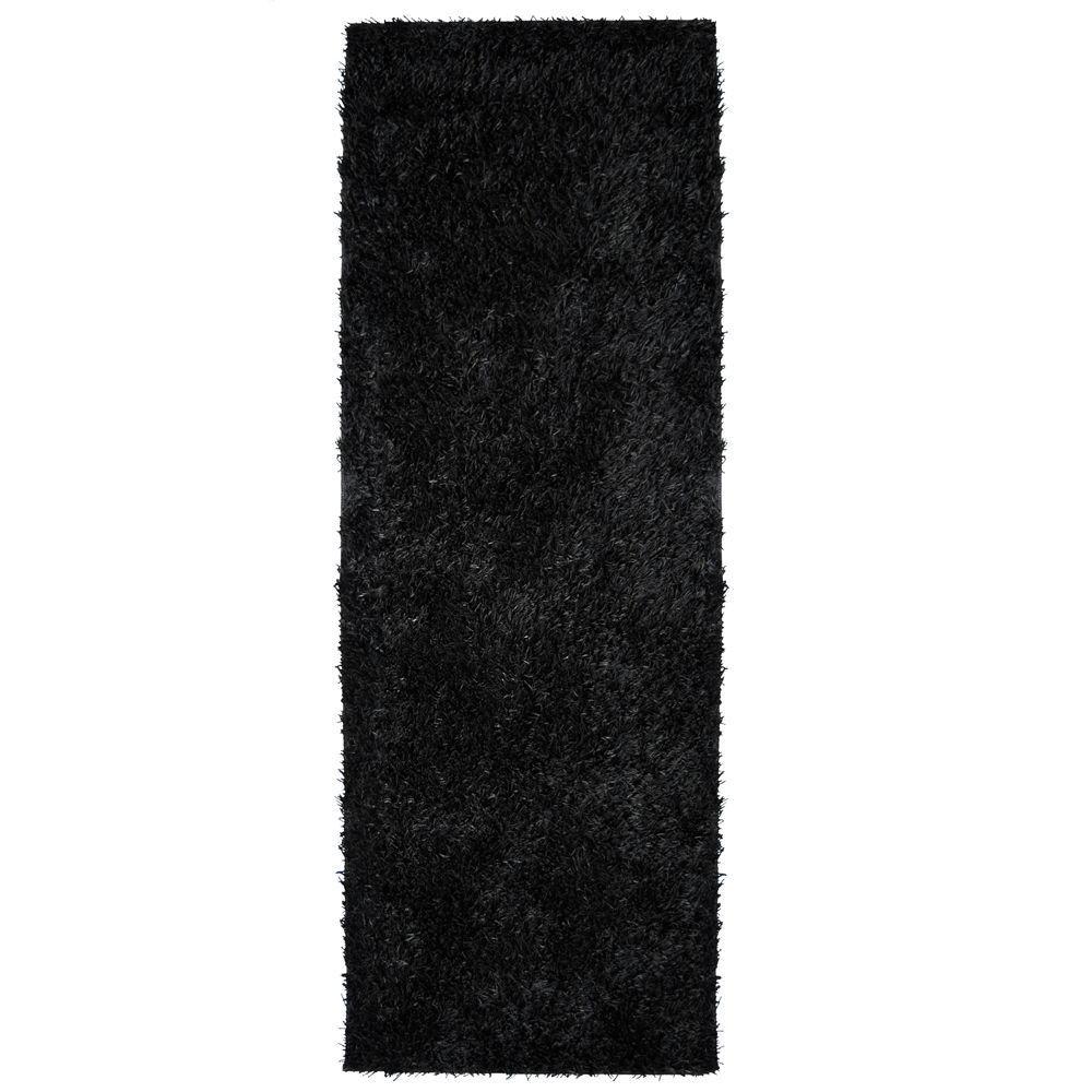 City Sheen Black 3 ft. x 12 ft. Rug Runner