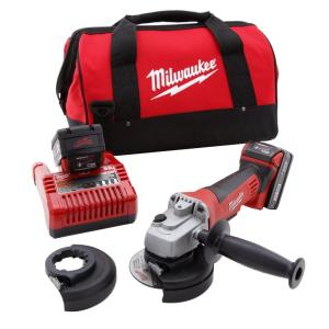 Milwaukee M18 18-Volt Lithium-Ion Cordless 4-1/2 inch Cut-Off Grinder Kit W/(2) 3.0Ah Batteries, Charger, Tool Bag by Milwaukee