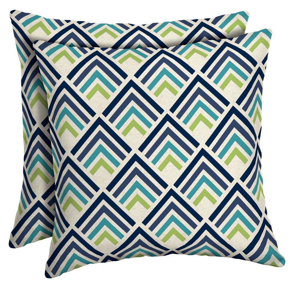 Sapphire Reid Diamond Square Outdoor Throw Pillow (2-Pack)