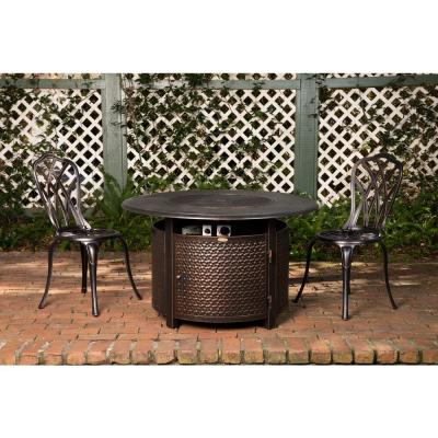 Weyland 44 in. x 24 in. Round Aluminum Propane Fire Pit Table in Antique Bronze
