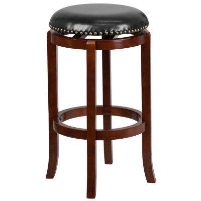 30 in. Black and Light Cherry Swivel Cushioned Bar Stool