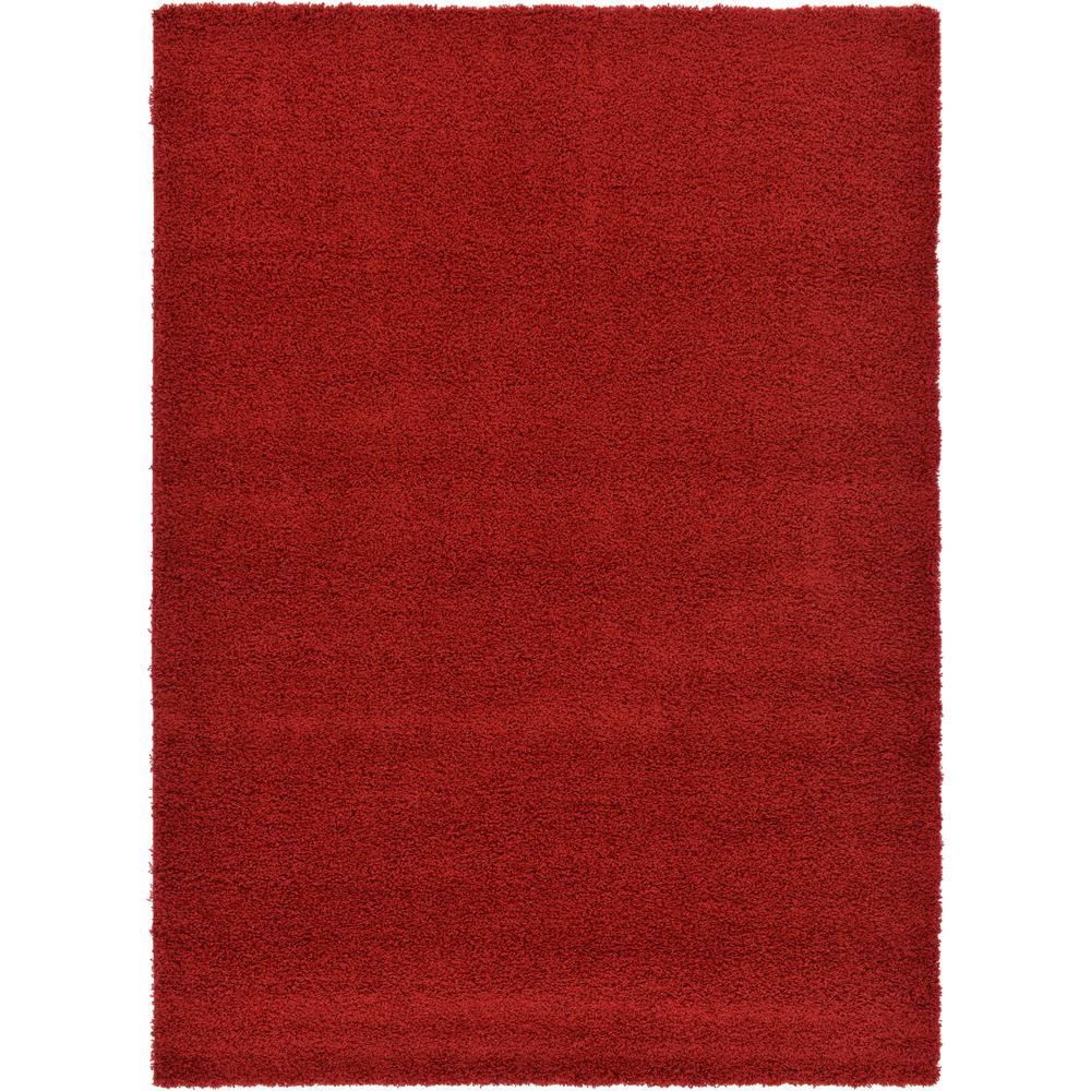 Unique Loom Solid Shag Cherry Red 7 Ft X 10 Ft Area Rug
