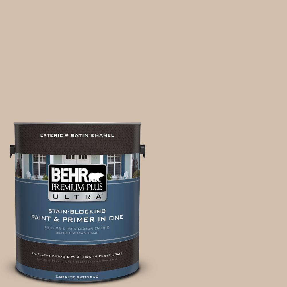 BEHR Premium Plus Ultra 1-gal. #PPF-32 Light Rattan Satin Enamel Exterior Paint