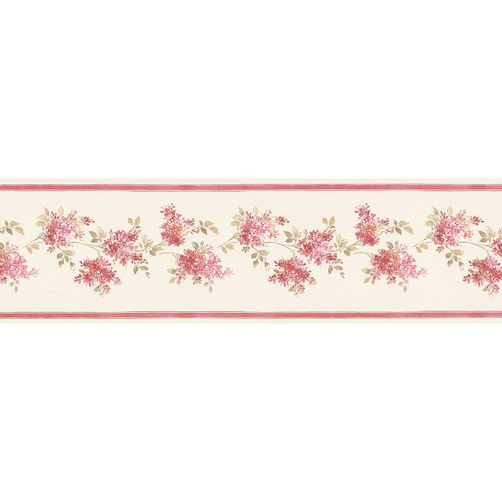 Lilac Cream, Pink, Red Wallpaper Border