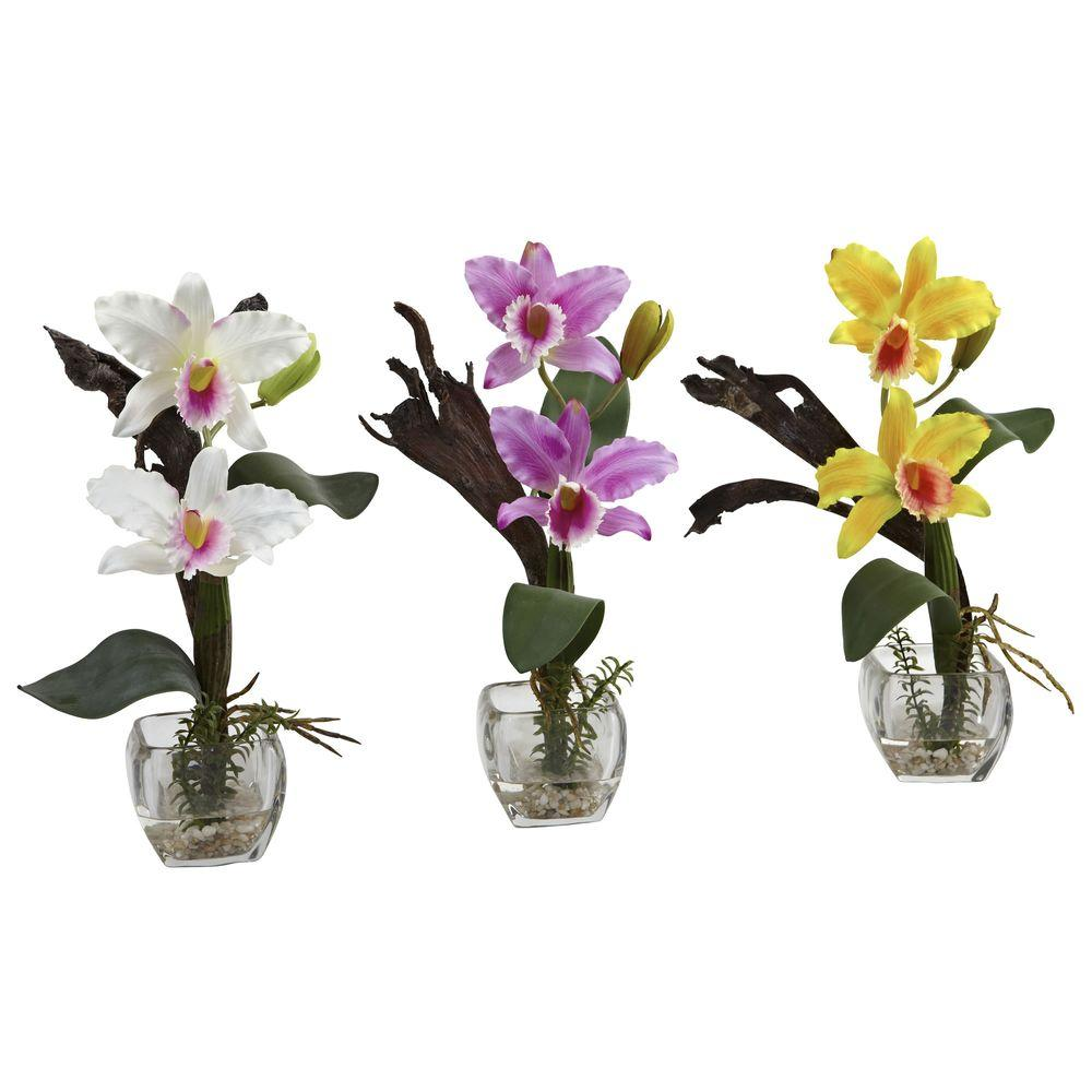 Unique Nearly Natural Mini Cattleya Orchid Arrangement (Set of 3)-1321-S3  IT26