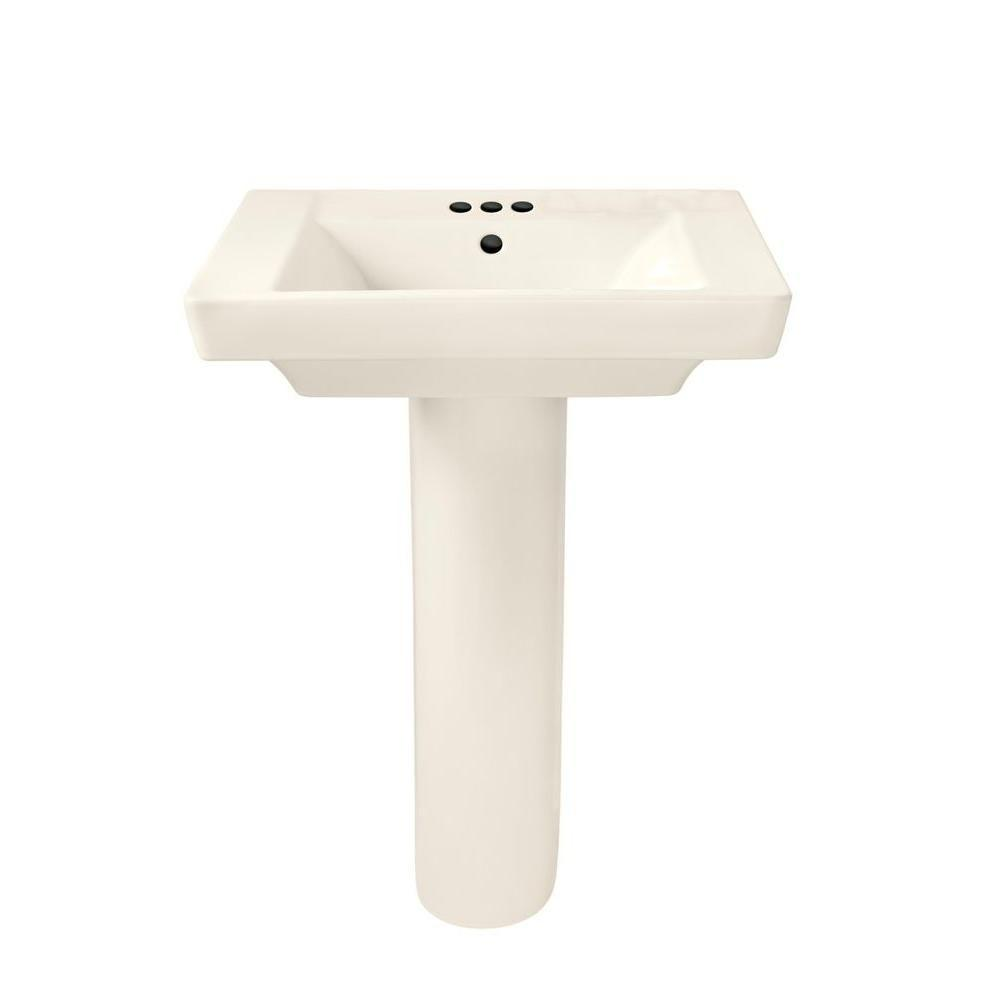 Boulevard Pedestal Combo Bathroom Sink in Linen with 4 in. Faucet