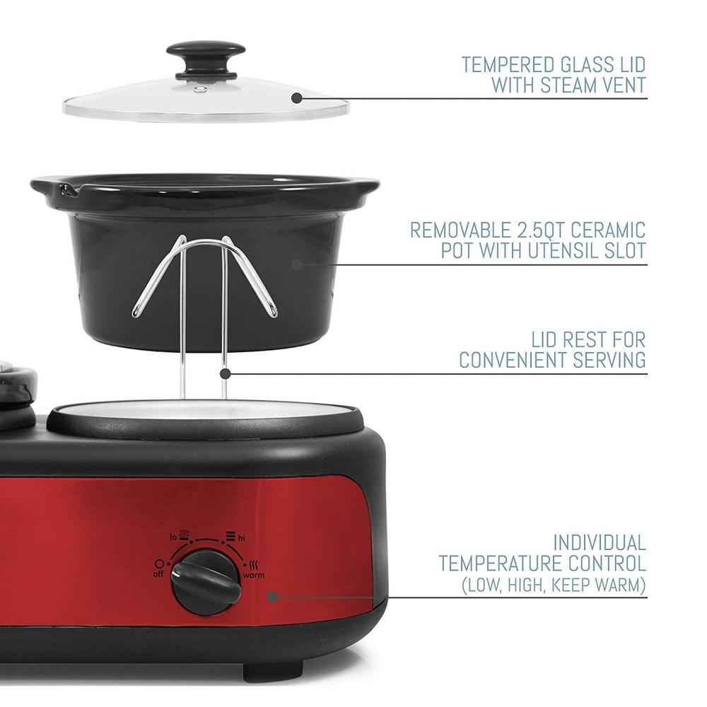 Elite 7 5 Qt  Red Slow Cooker with 3 Crocks and Cool-Touch Handles