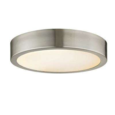 Cadence 60-Watt Equivalence Brushed Nickel Integrated LED Disc Flushmount with Glass Shade