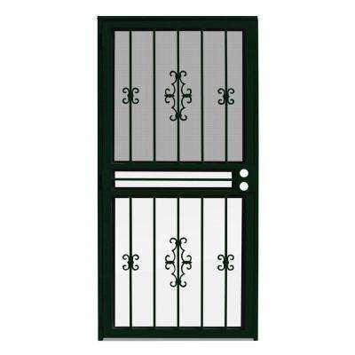 36 in. x 80 in. Watchman Duo Forest Green Recessed Mount All Season Security Door with Insect Screen and Glass Inserts