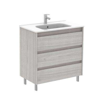 Sansa 32 in. W x 18 in. D Bath Vanity in Sandy Grey with Ceramic Vanity Top in White