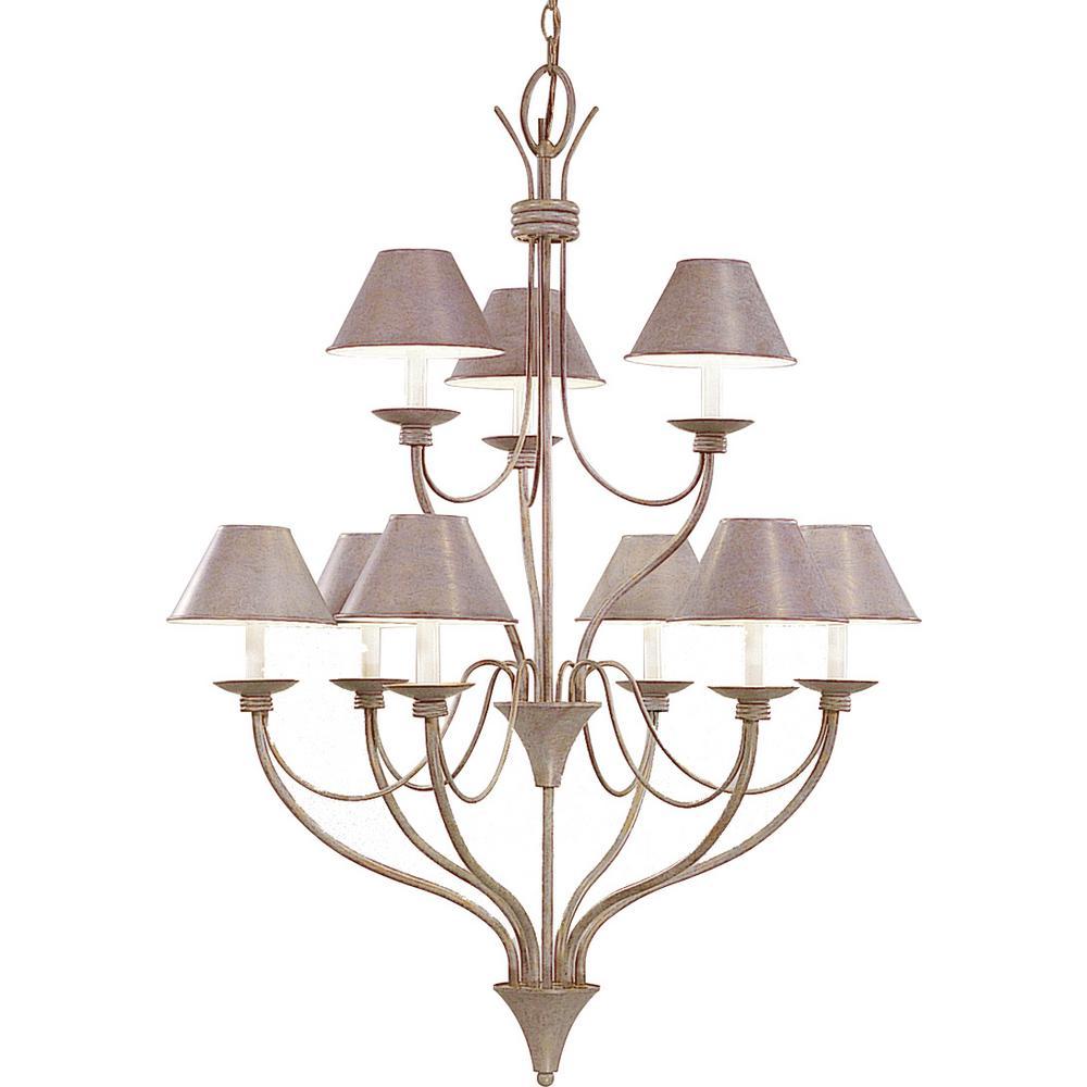 Cirebon 9-Light Interior/Indoor Prairie Rock Hanging Chandelier with Tapered Empire Metal Lamp Shades