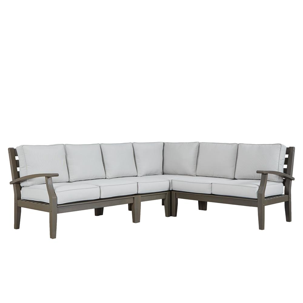 Homesullivan Gray Oiled Wood Outdoor Sofa Beige Cushions