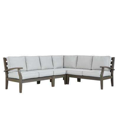 Verdon Gorge Gray 3-Piece Oiled Wood Outdoor Sofa with Beige Cushions