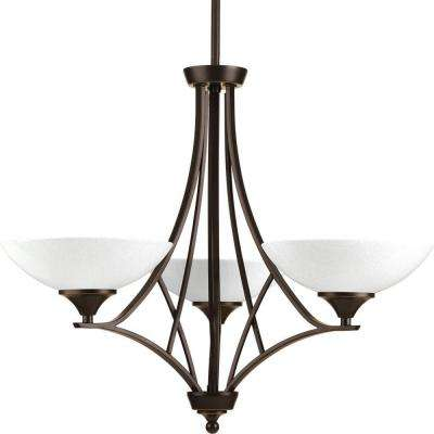 Prosper Collection 3-Light Antique Bronze Chandelier with Polished Seeded Glass