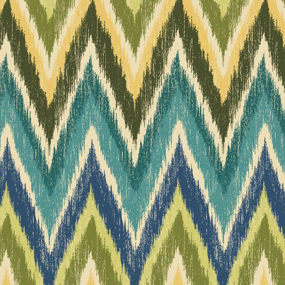 Hampton Bay Straight Ikat Chevron Fabric By The Yard-DISCONTINUED