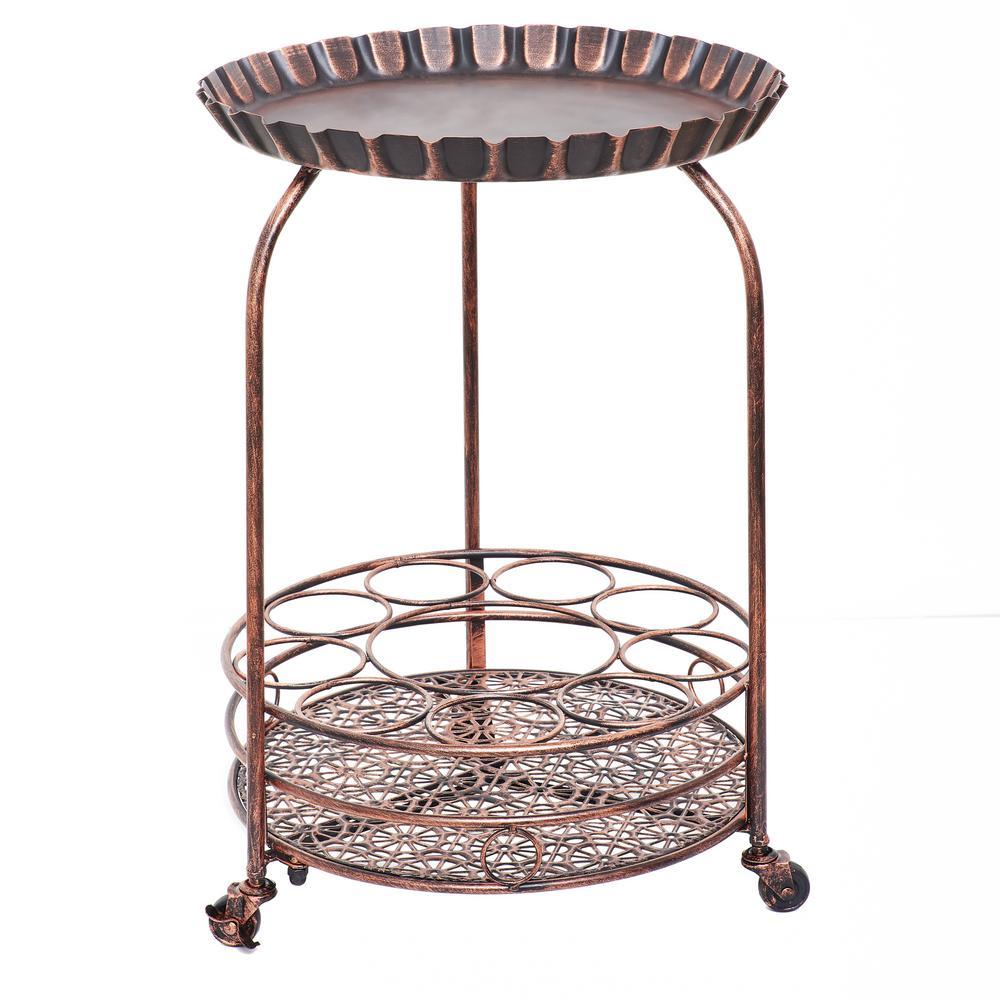 Pop 17 in. x 25.5 in. Antique Copper Wine Serving Cart