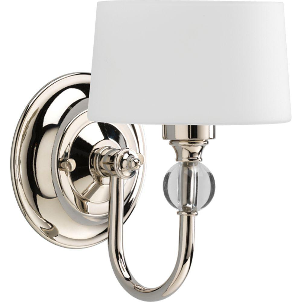 Progress Lighting Fortune Collection 1 Light Polished Nickel Wall Sconce With Opal Etched Glass P7049 104WB