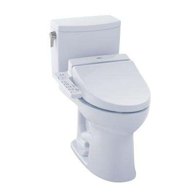 Drake II Connect+ 2-Piece 1.0 GPF Elongated Toilet with Washlet C100 Bidet Seat and CeFiONtect in Cotton White