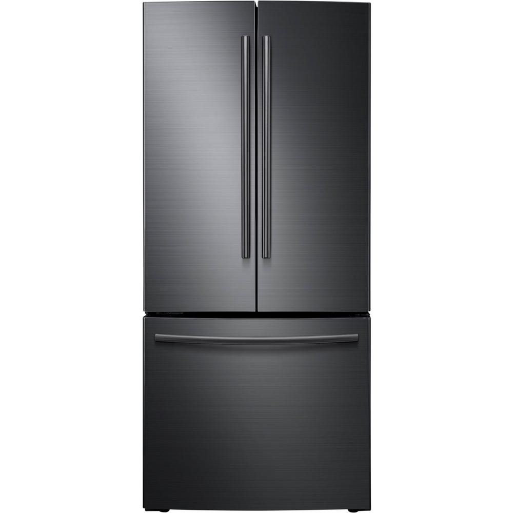 Samsung 30 in. W 21.8 cu. ft. French Door Refrigerator in Fingerprint Resistant Black Stainless