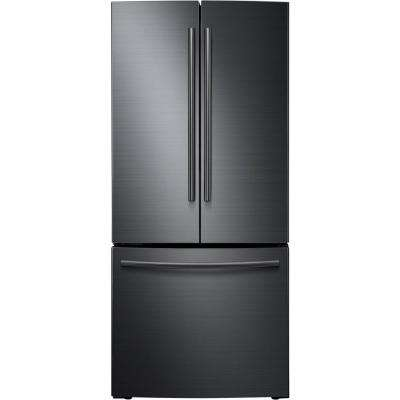 30 in. W 21.8 cu. ft. French Door Refrigerator in Fingerprint Resistant Black Stainless