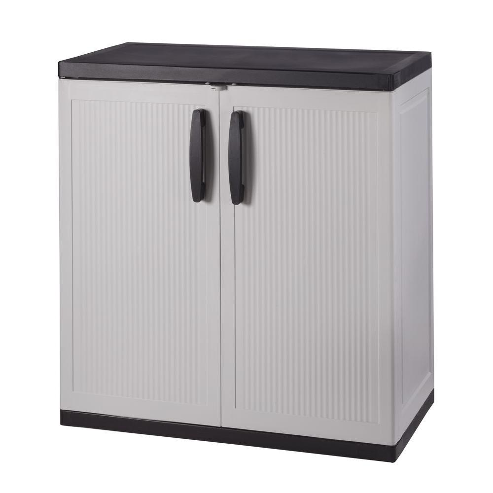 HDX 36 in. H x 36 in. W x 18 in. D Plastic 2 Shelf Multi-Purpose Base  Cabinet in Gray