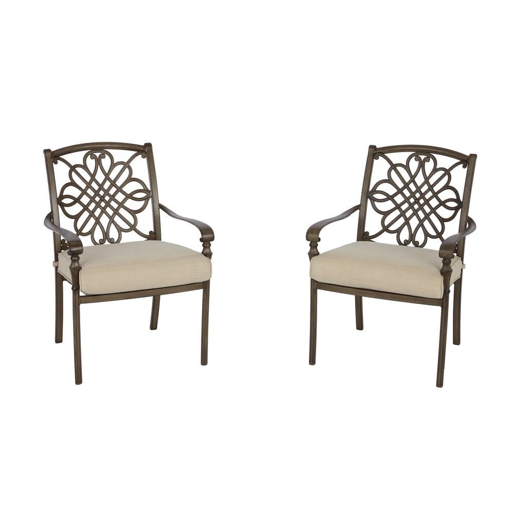 Cavasso Stationary Metal Outdoor Dining Chair With Oatmeal Cushion (2 Pack)