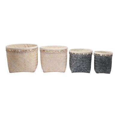 Bamboo Wood Baskets Blue and White (Set of 4)