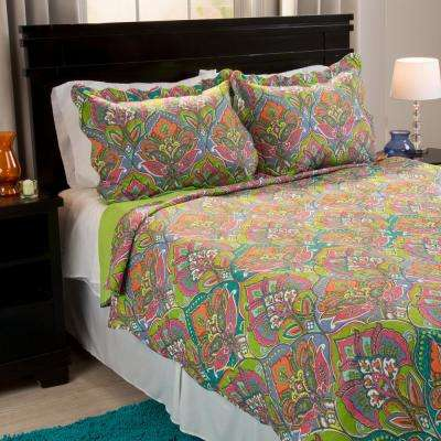 Gracie Green Polyester Full and Queen Quilt