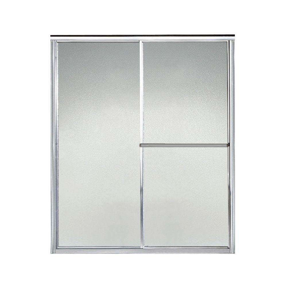 STERLING Deluxe 57-3/8 in. x 65-1/2 in. Framed Sliding Shower Door in Silver with Handle