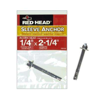 1/4 in. x 2-1/4 in. Zinc-Plated Steel Acorn Nut Sleeve Anchor