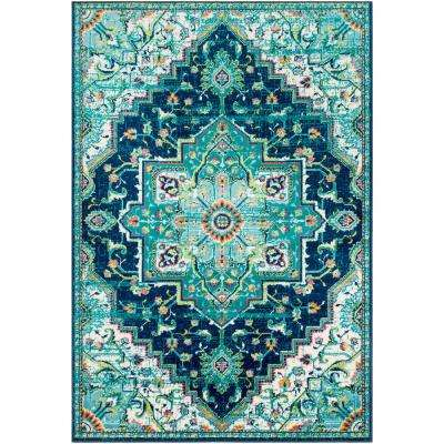 Sora Teal 6 ft. 7 in. x 9 ft. 6 in. Oriental Area Rug