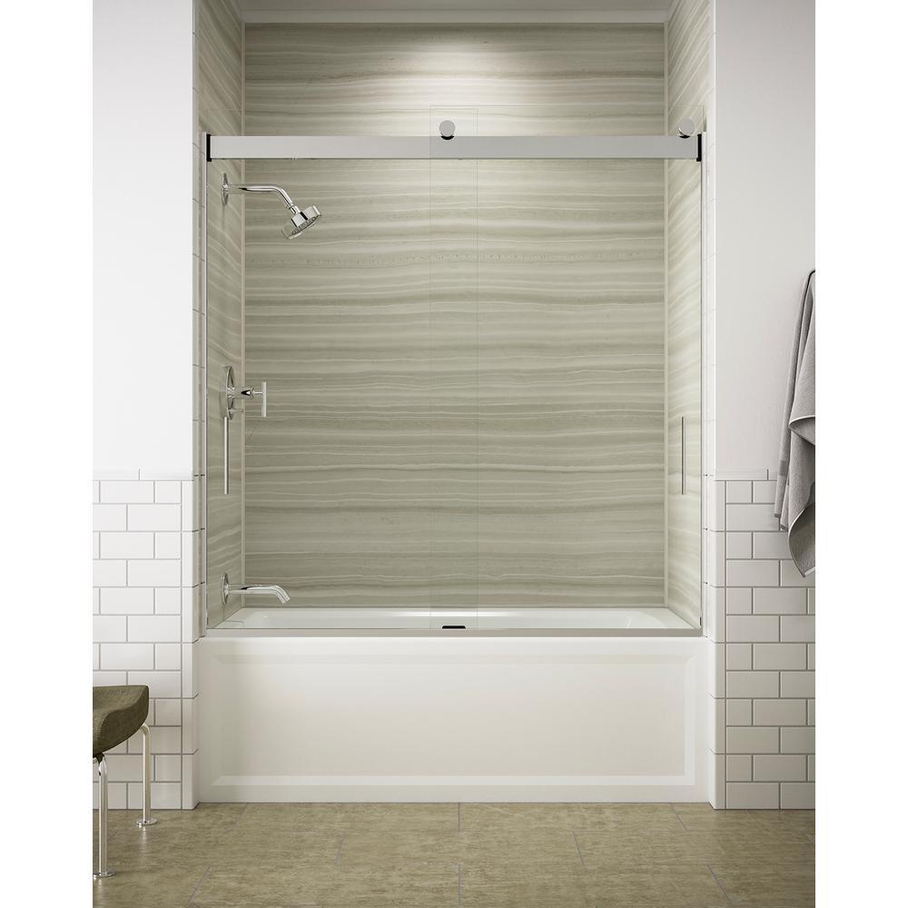 Kohler Levity 60 In X 62 Semi Frameless Sliding Tub Door Silver With Handle