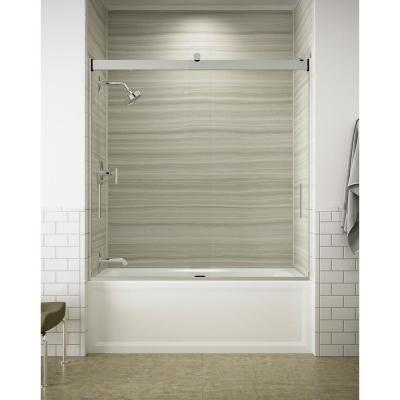 Levity 60 in. x 62 in. Semi-frameless Sliding Tub Door in Silver with Handle