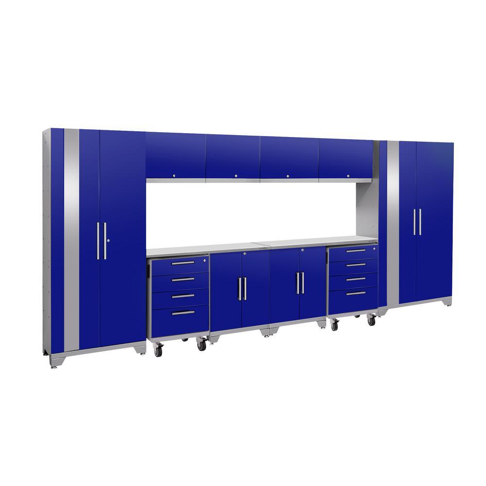Performance 2.0 77.25 in. H x 156 in. W x 18 in. D 24-Gauge Welded Steel Garage Cabinet Set in Blue (12-Piece)