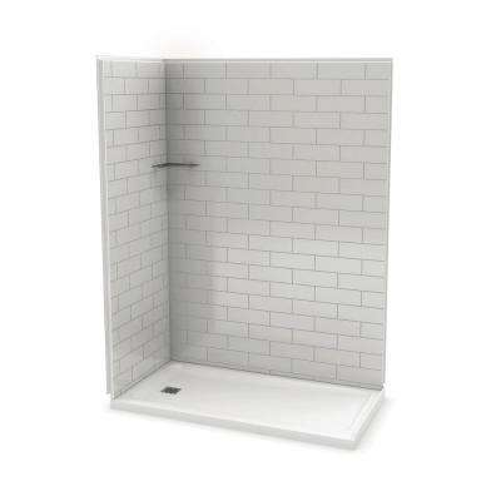 Utile Metro 32 in. x 60 in. x 83.5 in. Corner Shower Stall in Soft Grey with Left Drain Base in White
