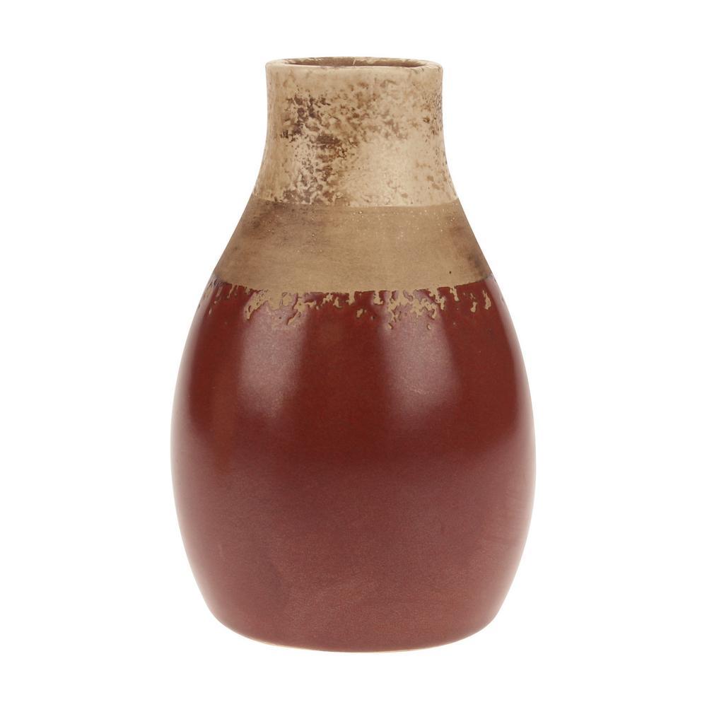 Worn Red Ceramic Decorative Vase