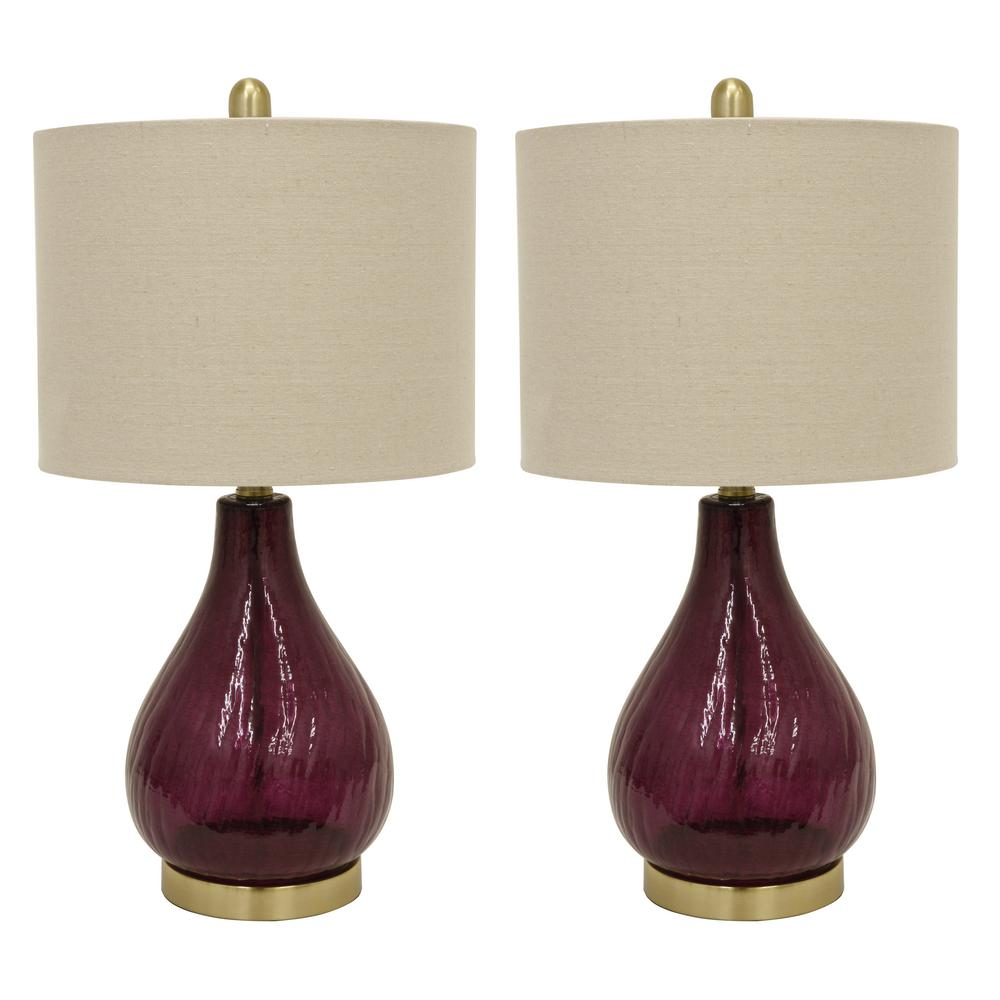 Crackle Glass 23 in. Plume Purple Table Lamps with Shade (Set