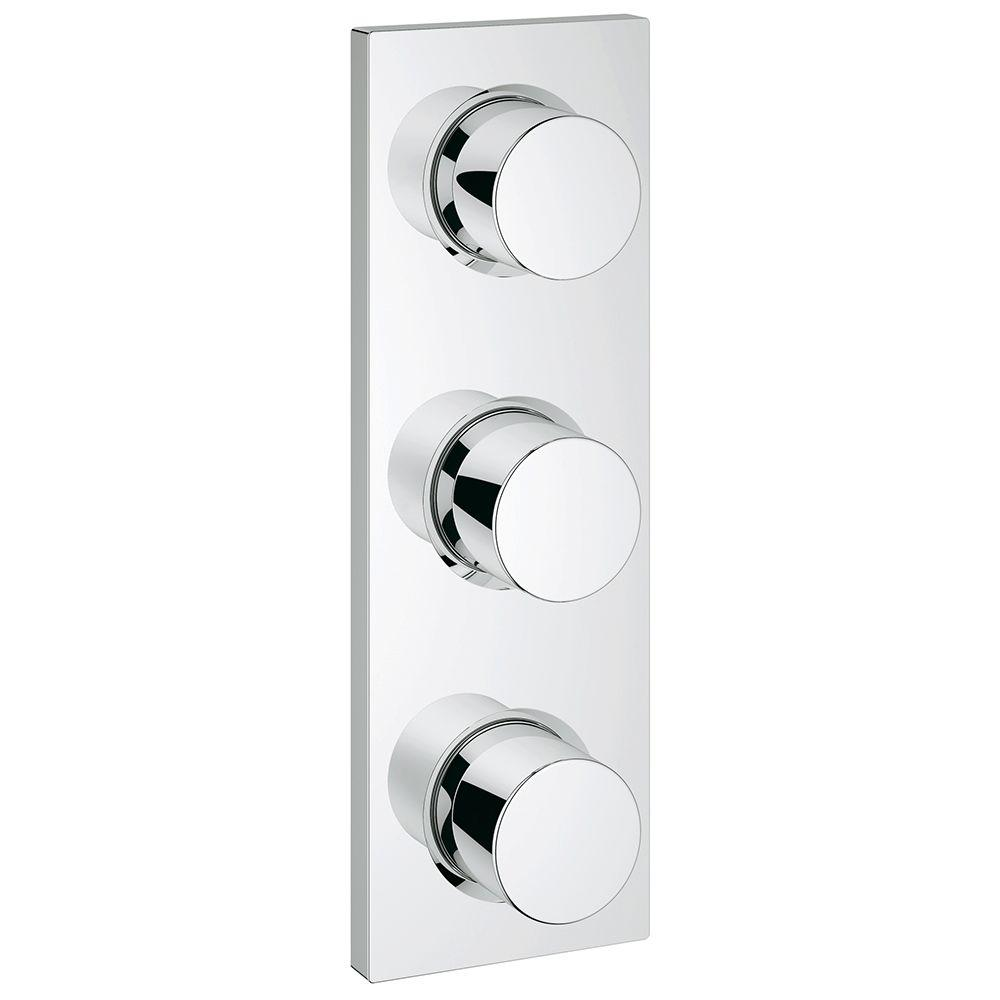 GROHE Grotherm F 3-Handle Triple Volume Control Valve Trim Kit in StarLight Chrome (Valve Sold Separately)