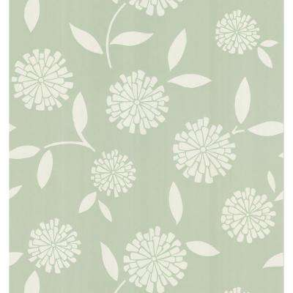 Simple Space Green Zinnia Flower Wallpaper Sample