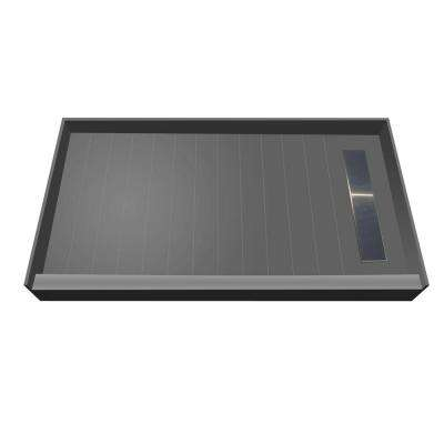 30 in. x 60 in. Single Threshold Shower Base with Right Drain and Solid Brushed Nickel Trench Grate