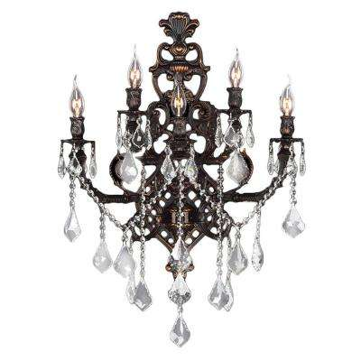Versailles 5-Light Flemish Brass and Clear Crystal Sconce