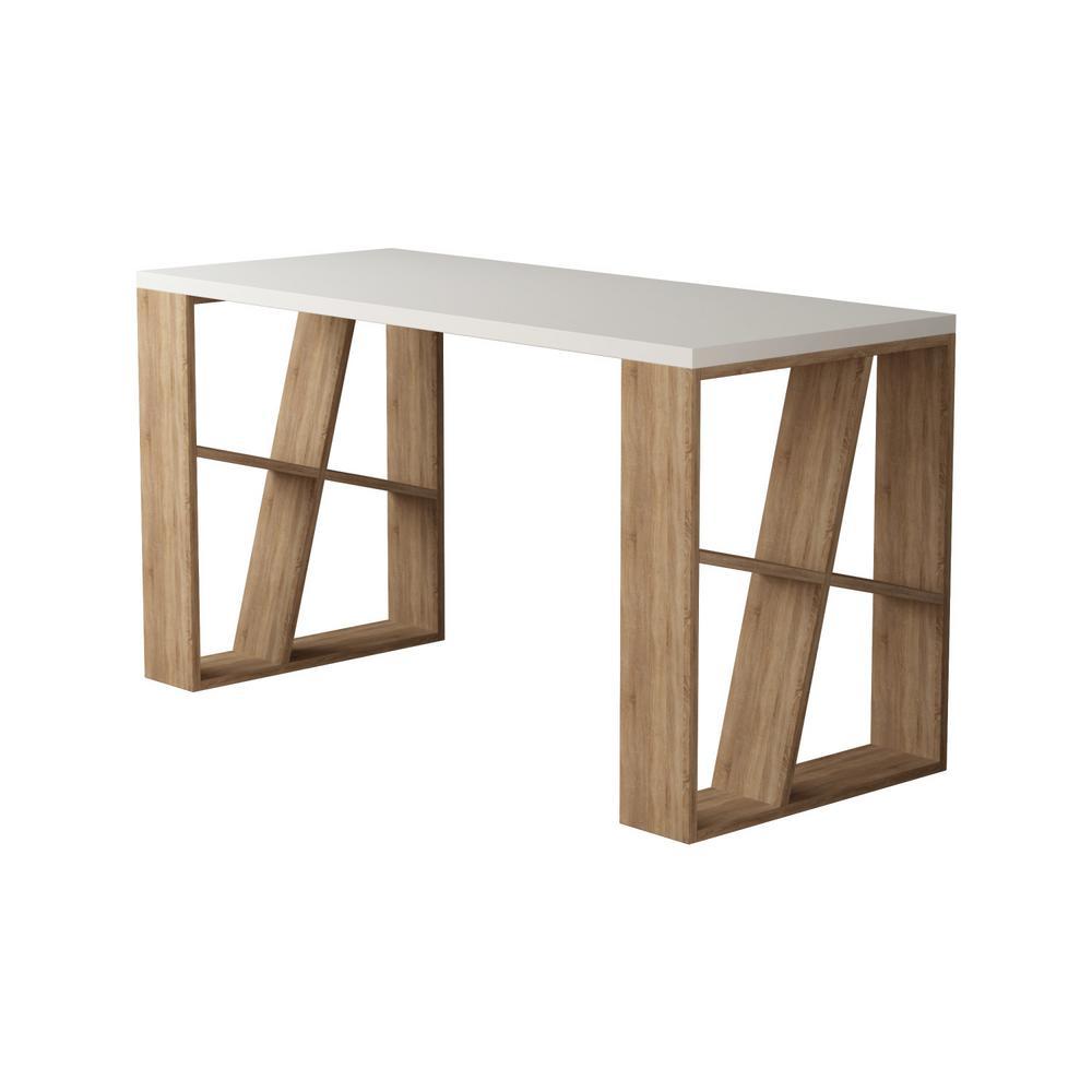 Brian White and Oak Modern Desk