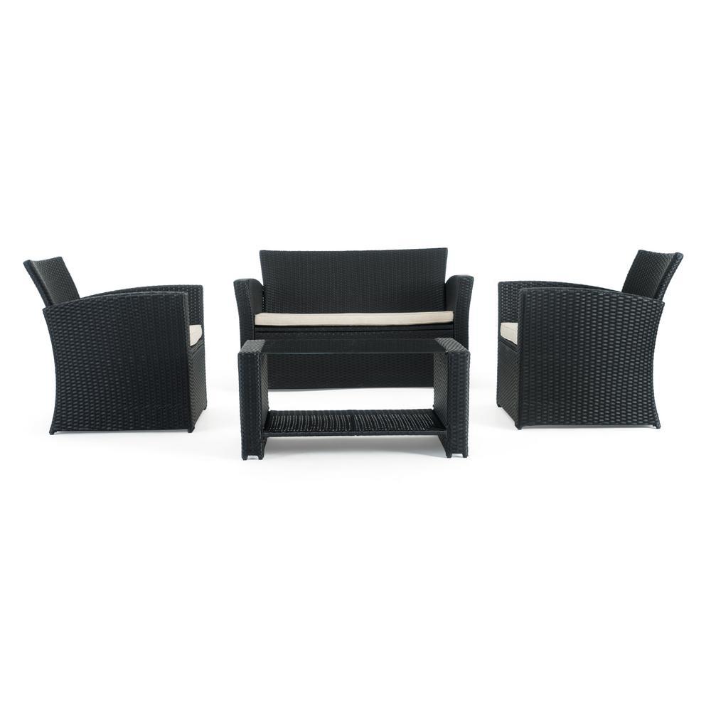 Magna Black 4-Piece Wicker Patio Conversation Set with Beige Cushions