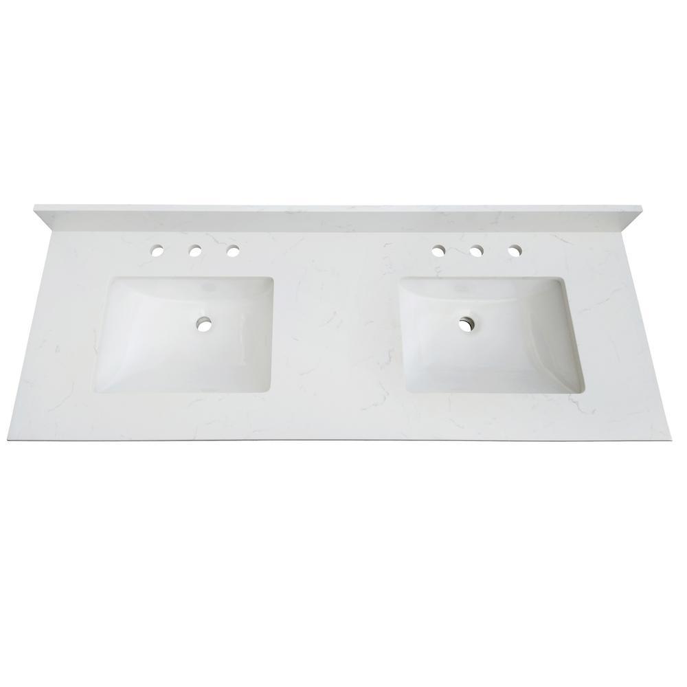 73 in. W x 22 in. D x 0.75 in. H Quartz Vanity Top in Carrara White with White Basins