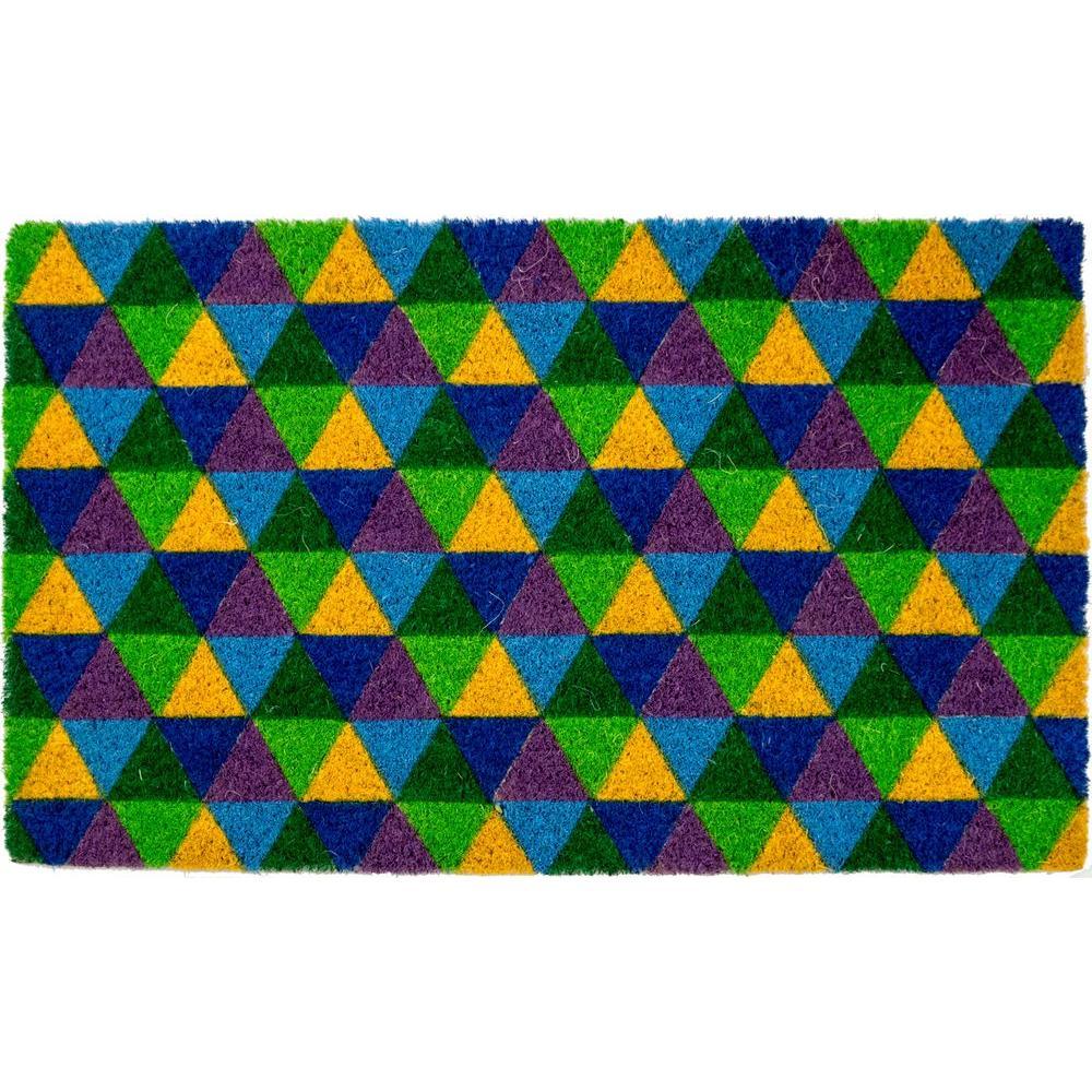 Triangles 17 in. x 28 in. Non-Slip Coir Door Mat