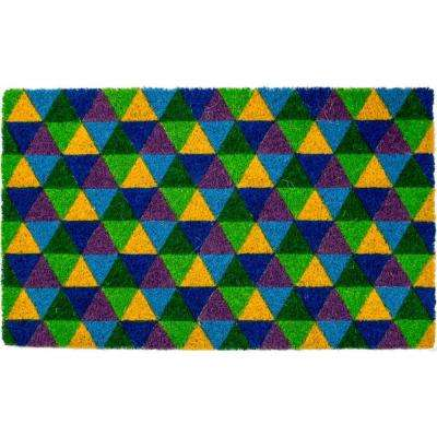 Triangles 17 in. x 28 in. Non-Slip Coir Door Mat