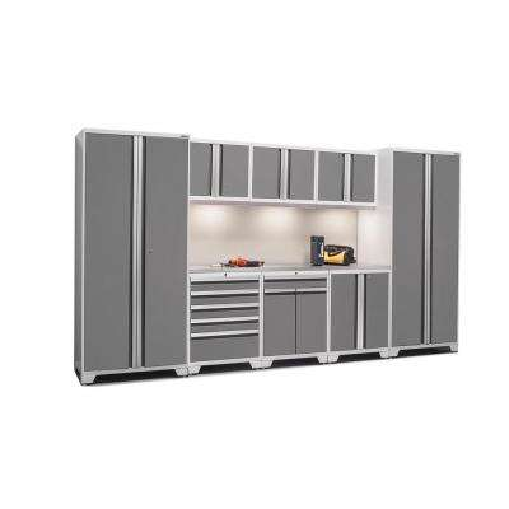 Pro 3.0 85 in. H x 156 in. W x 24 in. D 18-Gauge Welded Steel Stainless Steel Worktop Cabinet Set in Platinum (9-Piece)